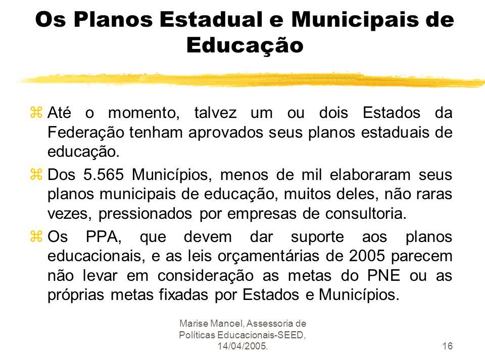 Marise Manoel, Assessoria de Políticas Educacionais-SEED, 14/04/2005.16 Os Planos Estadual e Municipais de Educação zAté o momento, talvez um ou dois