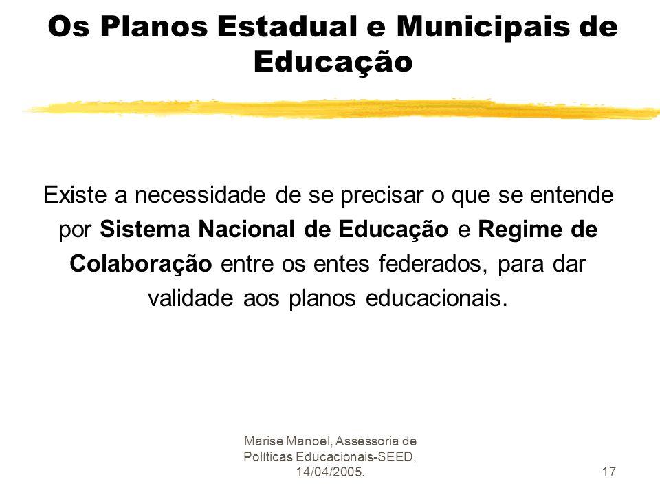 Marise Manoel, Assessoria de Políticas Educacionais-SEED, 14/04/2005.17 Os Planos Estadual e Municipais de Educação Existe a necessidade de se precisa