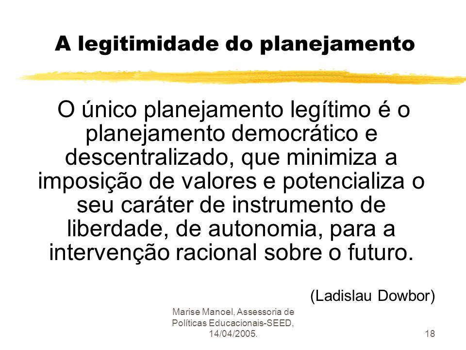 Marise Manoel, Assessoria de Políticas Educacionais-SEED, 14/04/2005.18 A legitimidade do planejamento O único planejamento legítimo é o planejamento