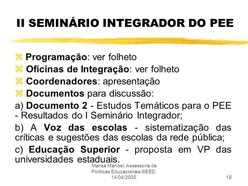 Marise Manoel, Assessoria de Políticas Educacionais-SEED, 14/04/2005.19 II SEMINÁRIO INTEGRADOR DO PEE z Programação: ver folheto z Oficinas de Integr