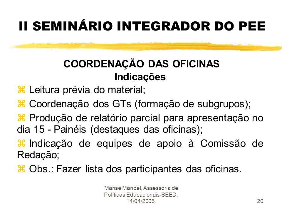 Marise Manoel, Assessoria de Políticas Educacionais-SEED, 14/04/2005.20 II SEMINÁRIO INTEGRADOR DO PEE COORDENAÇÃO DAS OFICINAS Indicações z Leitura p