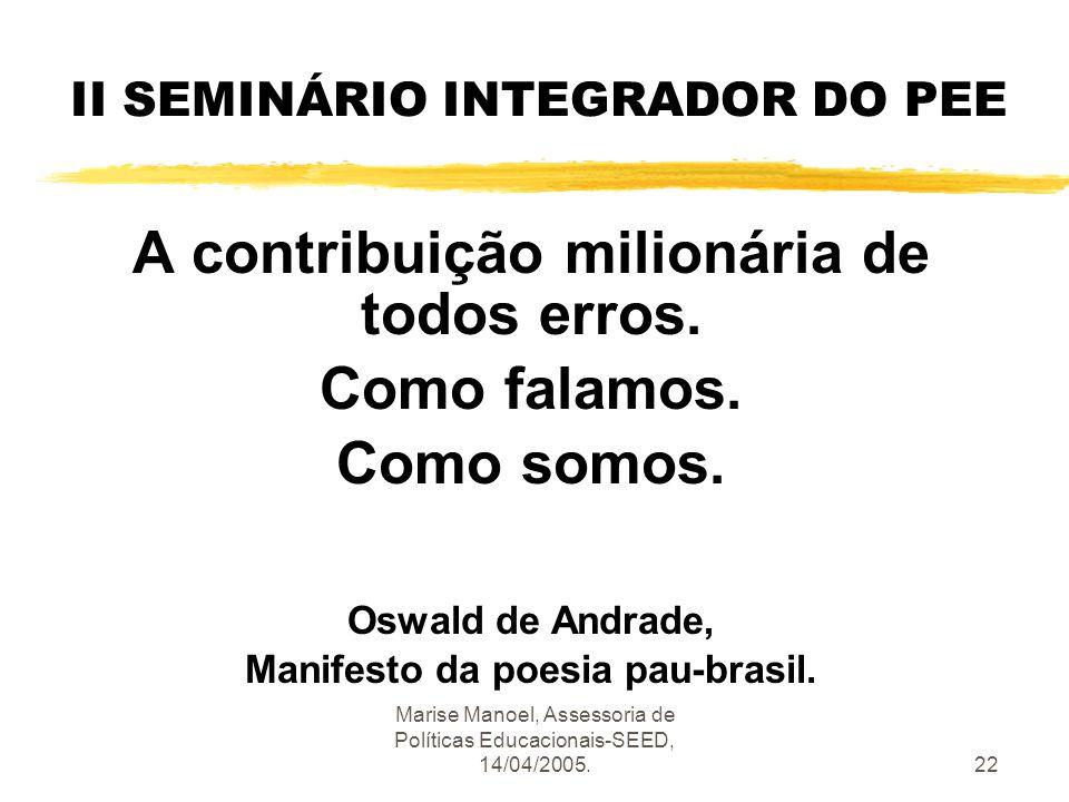 Marise Manoel, Assessoria de Políticas Educacionais-SEED, 14/04/2005.22 II SEMINÁRIO INTEGRADOR DO PEE A contribuição milionária de todos erros. Como