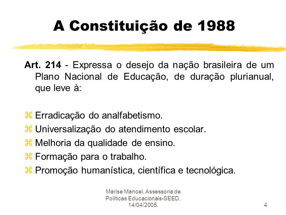 Marise Manoel, Assessoria de Políticas Educacionais-SEED, 14/04/2005.4 A Constituição de 1988 Art. 214 - Expressa o desejo da nação brasileira de um P