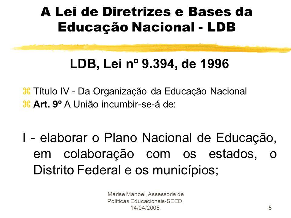 Marise Manoel, Assessoria de Políticas Educacionais-SEED, 14/04/2005.5 A Lei de Diretrizes e Bases da Educação Nacional - LDB LDB, Lei nº 9.394, de 19