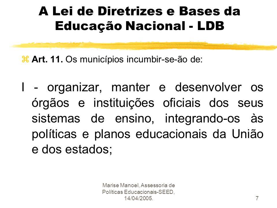 Marise Manoel, Assessoria de Políticas Educacionais-SEED, 14/04/2005.7 A Lei de Diretrizes e Bases da Educação Nacional - LDB zArt. 11. Os municípios