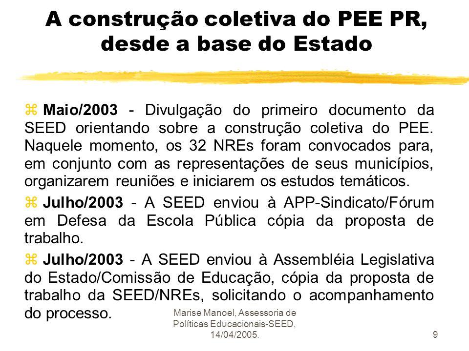 Marise Manoel, Assessoria de Políticas Educacionais-SEED, 14/04/2005.9 A construção coletiva do PEE PR, desde a base do Estado z Maio/2003 - Divulgaçã