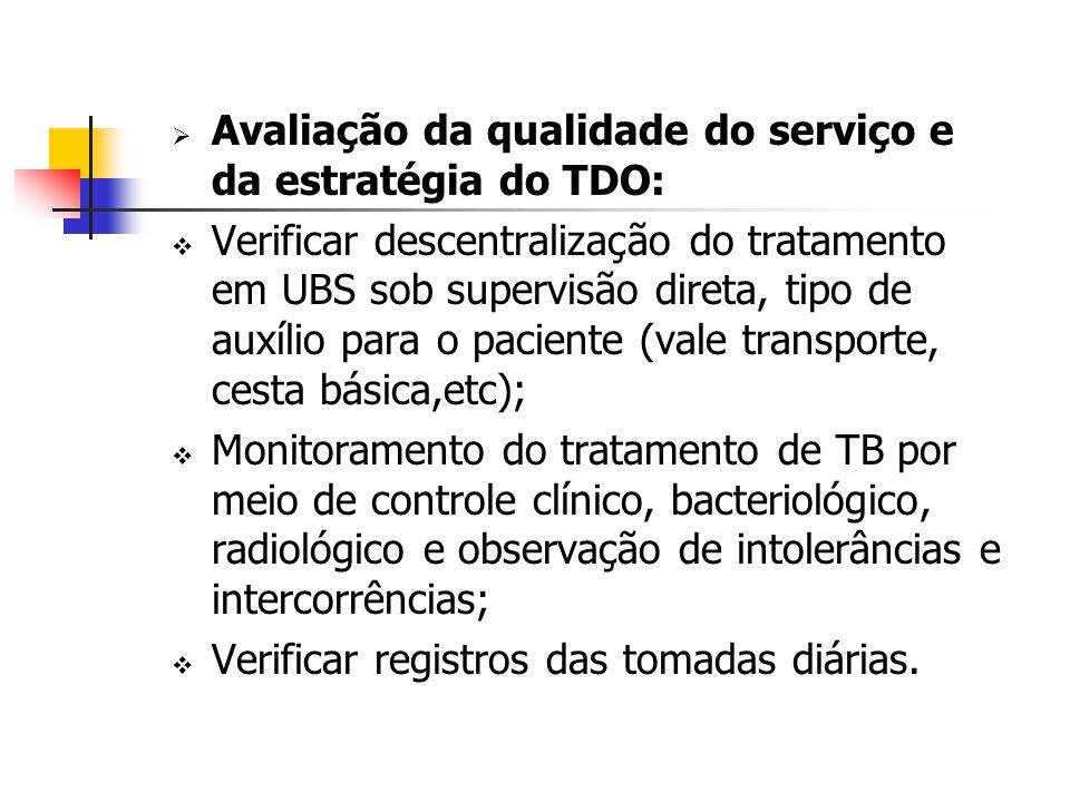Avaliação da qualidade do serviço e da estratégia do TDO: Verificar descentralização do tratamento em UBS sob supervisão direta, tipo de auxílio para