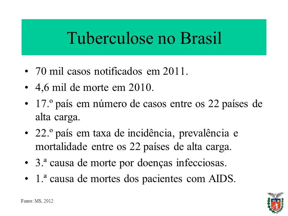 Tuberculose no Brasil 70 mil casos notificados em 2011. 4,6 mil de morte em 2010. 17.º país em número de casos entre os 22 países de alta carga. 22.º