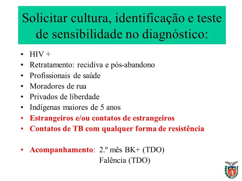 Solicitar cultura, identificação e teste de sensibilidade no diagnóstico: HIV + Retratamento: recidiva e pós-abandono Profissionais de saúde Moradores