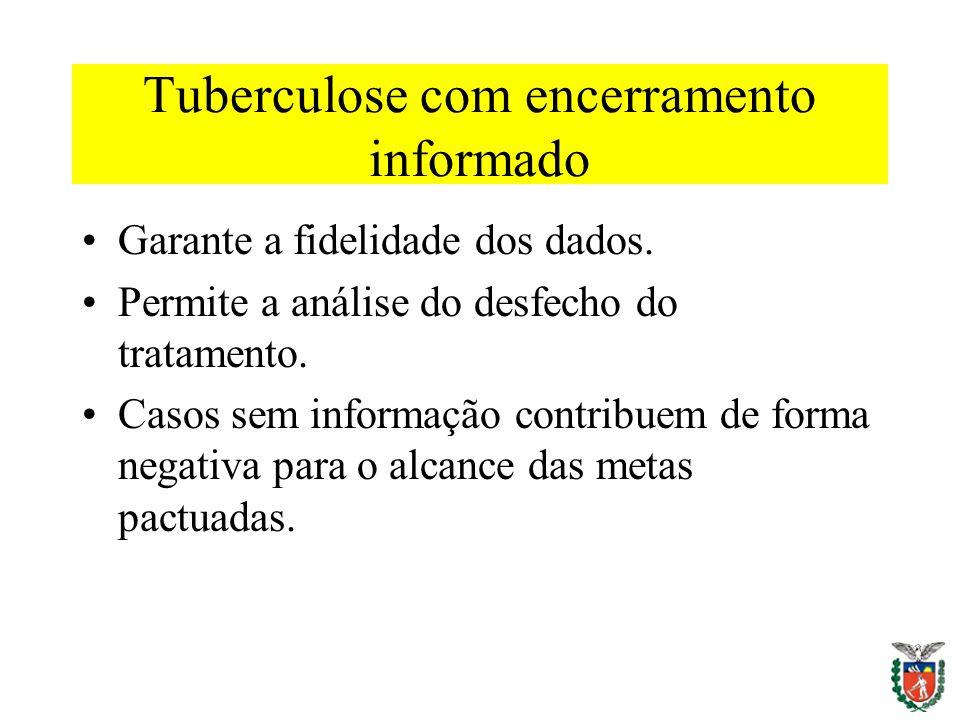 Tuberculose com encerramento informado Garante a fidelidade dos dados. Permite a análise do desfecho do tratamento. Casos sem informação contribuem de