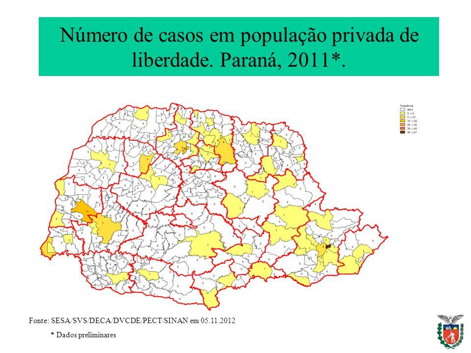 Número de casos em população privada de liberdade. Paraná, 2011*. Fonte: SESA/SVS/DECA/DVCDE/PECT/SINAN em 05.11.2012 * Dados preliminares