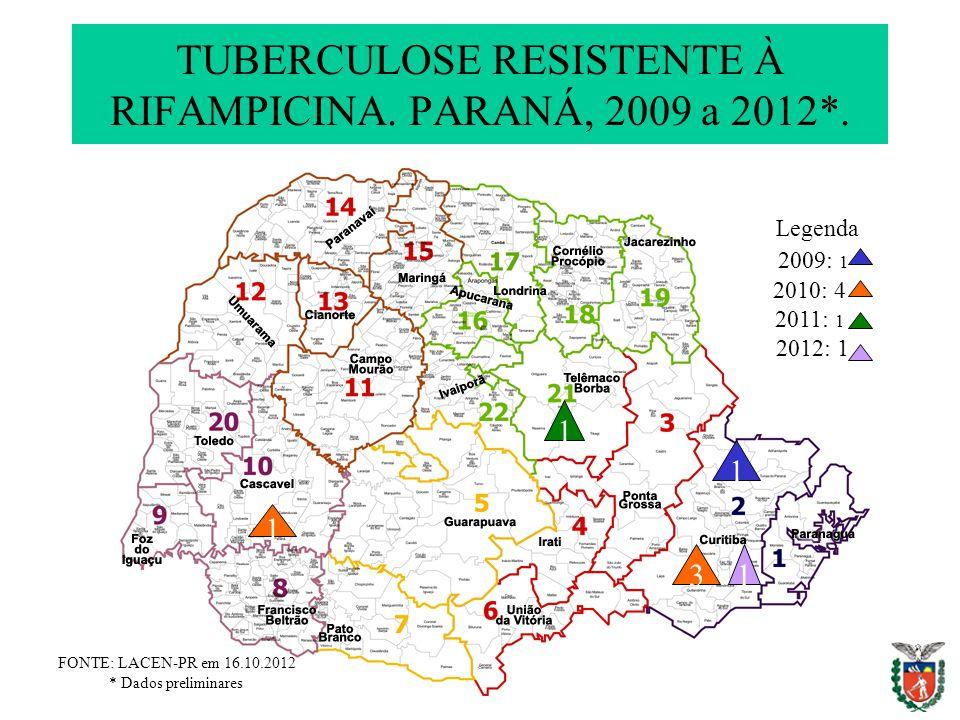 TUBERCULOSE RESISTENTE À RIFAMPICINA. PARANÁ, 2009 a 2012*. 3 FONTE: LACEN-PR em 16.10.2012 * Dados preliminares 2010: 4 2011: 1 Legenda 1 2012: 1 200