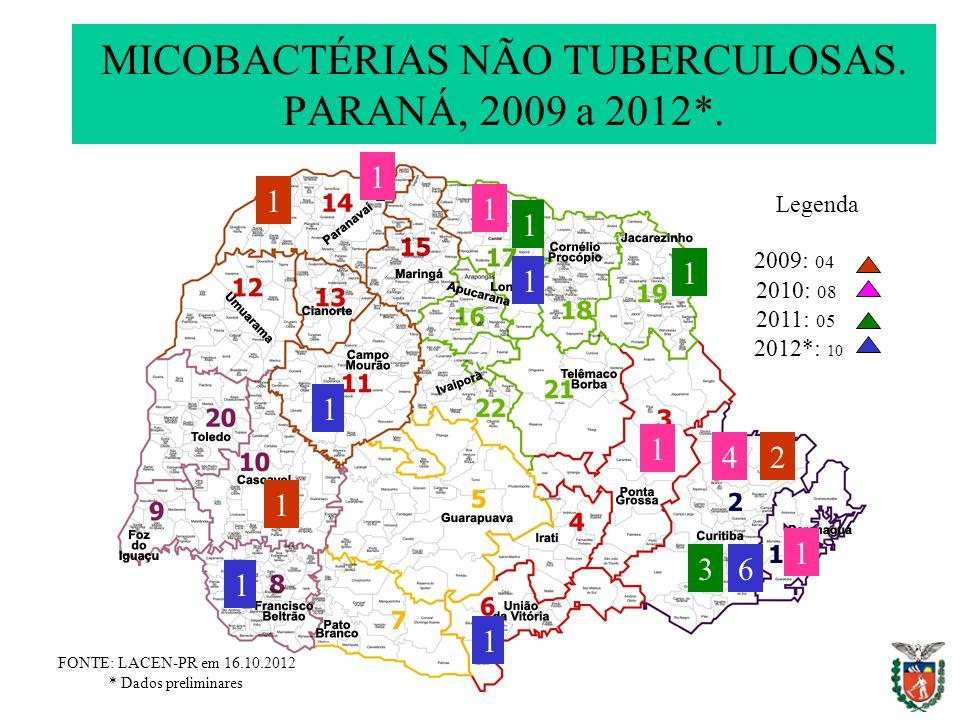 MICOBACTÉRIAS NÃO TUBERCULOSAS. PARANÁ, 2009 a 2012*. FONTE: LACEN-PR em 16.10.2012 * Dados preliminares 2010: 08 2011: 05 Legenda 2012*: 10 3 4 1 6 2
