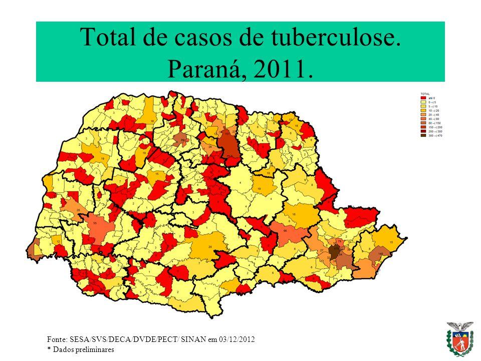 Total de casos de tuberculose. Paraná, 2011. Fonte: SESA/SVS/DECA/DVDE/PECT/ SINAN em 03/12/2012 * Dados preliminares