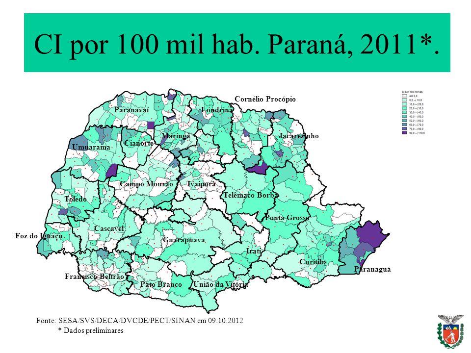CI por 100 mil hab. Paraná, 2011*. Fonte: SESA/SVS/DECA/DVCDE/PECT/SINAN em 09.10.2012 * Dados preliminares Paranaguá Curitiba Irati Ponta Grossa Uniã