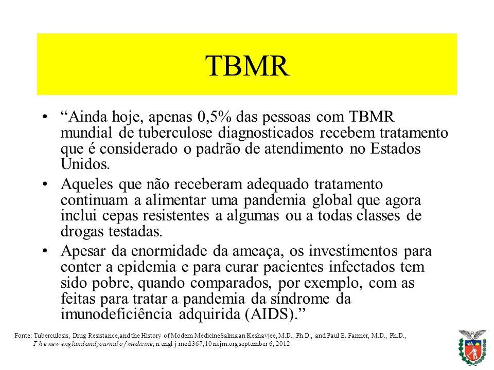 TBMR Ainda hoje, apenas 0,5% das pessoas com TBMR mundial de tuberculose diagnosticados recebem tratamento que é considerado o padrão de atendimento n