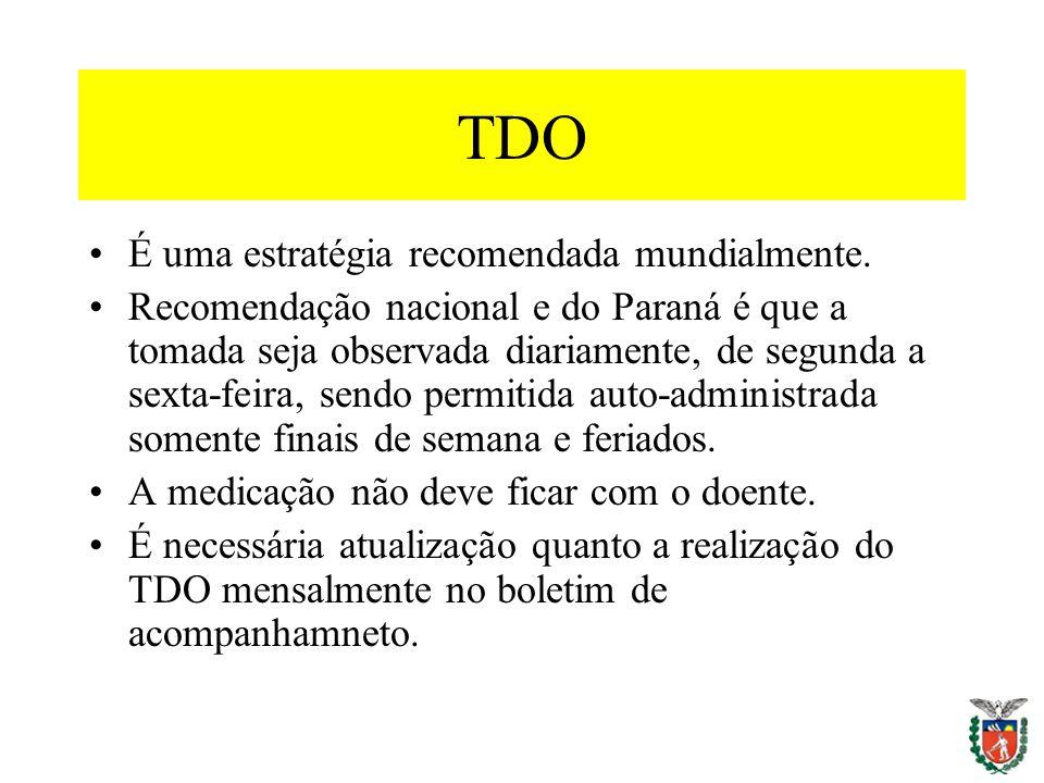 TDO É uma estratégia recomendada mundialmente. Recomendação nacional e do Paraná é que a tomada seja observada diariamente, de segunda a sexta-feira,