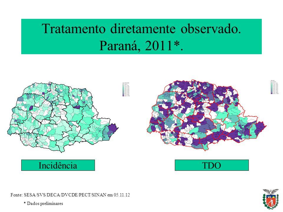 Fonte: SESA/SVS/DECA/DVCDE/PECT/SINAN em 05.11.12 * Dados preliminares Tratamento diretamente observado. Paraná, 2011*. IncidênciaTDO