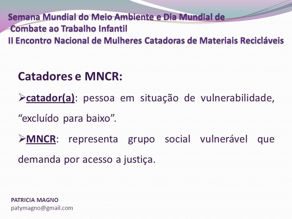 PATRICIA MAGNO patymagno@gmail.com Catadores e MNCR: catador(a): pessoa em situação de vulnerabilidade, excluído para baixo.