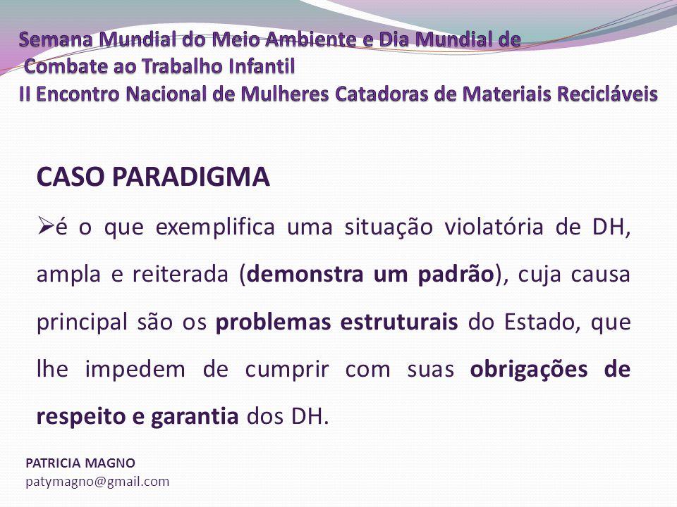 PATRICIA MAGNO patymagno@gmail.com CASO PARADIGMA é o que exemplifica uma situação violatória de DH, ampla e reiterada (demonstra um padrão), cuja causa principal são os problemas estruturais do Estado, que lhe impedem de cumprir com suas obrigações de respeito e garantia dos DH.