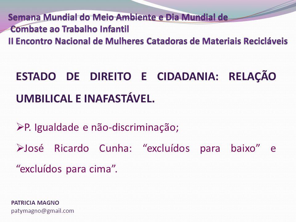 PATRICIA MAGNO patymagno@gmail.com ESTADO DE DIREITO E CIDADANIA: RELAÇÃO UMBILICAL E INAFASTÁVEL.