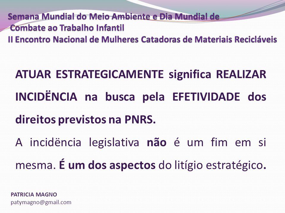 PATRICIA MAGNO patymagno@gmail.com ATUAR ESTRATEGICAMENTE significa REALIZAR INCIDËNCIA na busca pela EFETIVIDADE dos direitos previstos na PNRS.