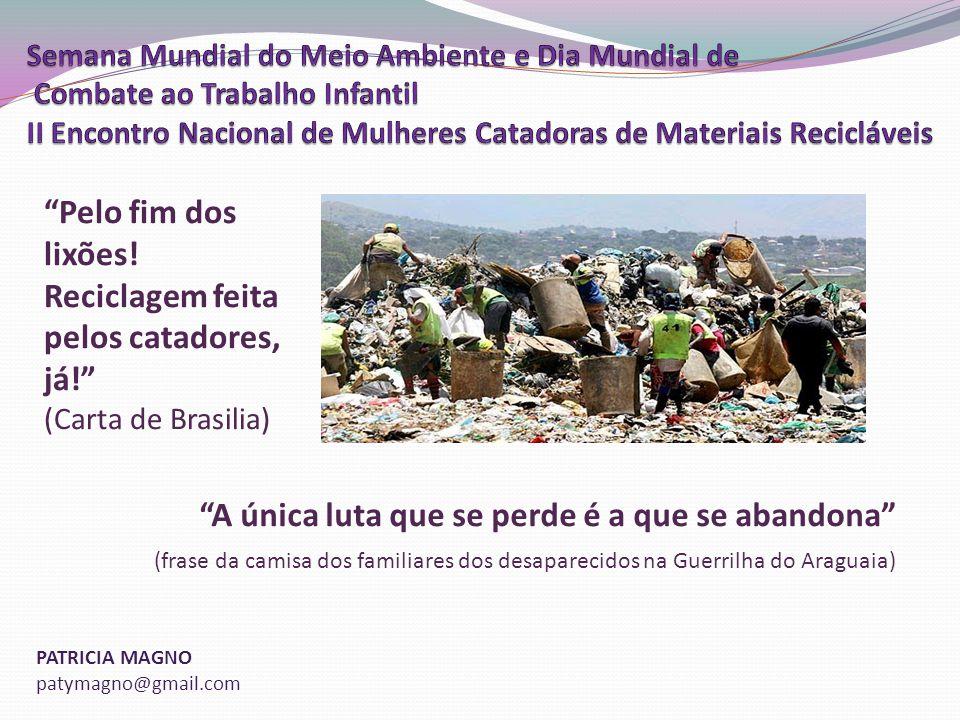 PATRICIA MAGNO patymagno@gmail.com A única luta que se perde é a que se abandona (frase da camisa dos familiares dos desaparecidos na Guerrilha do Araguaia) Pelo fim dos lixões.