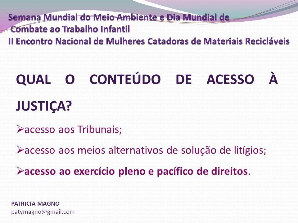 PATRICIA MAGNO patymagno@gmail.com QUAL O CONTEÚDO DE ACESSO À JUSTIÇA.