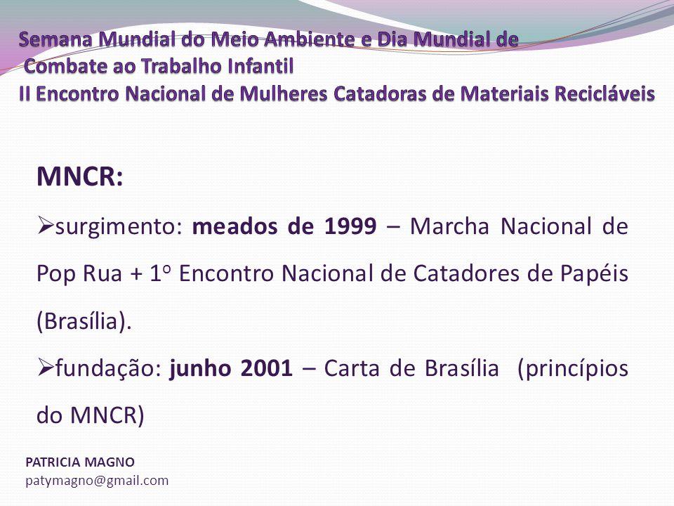 PATRICIA MAGNO patymagno@gmail.com MNCR: surgimento: meados de 1999 – Marcha Nacional de Pop Rua + 1 o Encontro Nacional de Catadores de Papéis (Brasília).