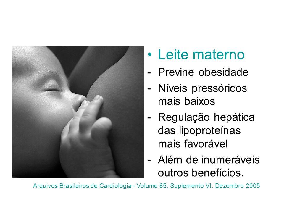 Leite materno -Previne obesidade -Níveis pressóricos mais baixos -Regulação hepática das lipoproteínas mais favorável -Além de inumeráveis outros bene
