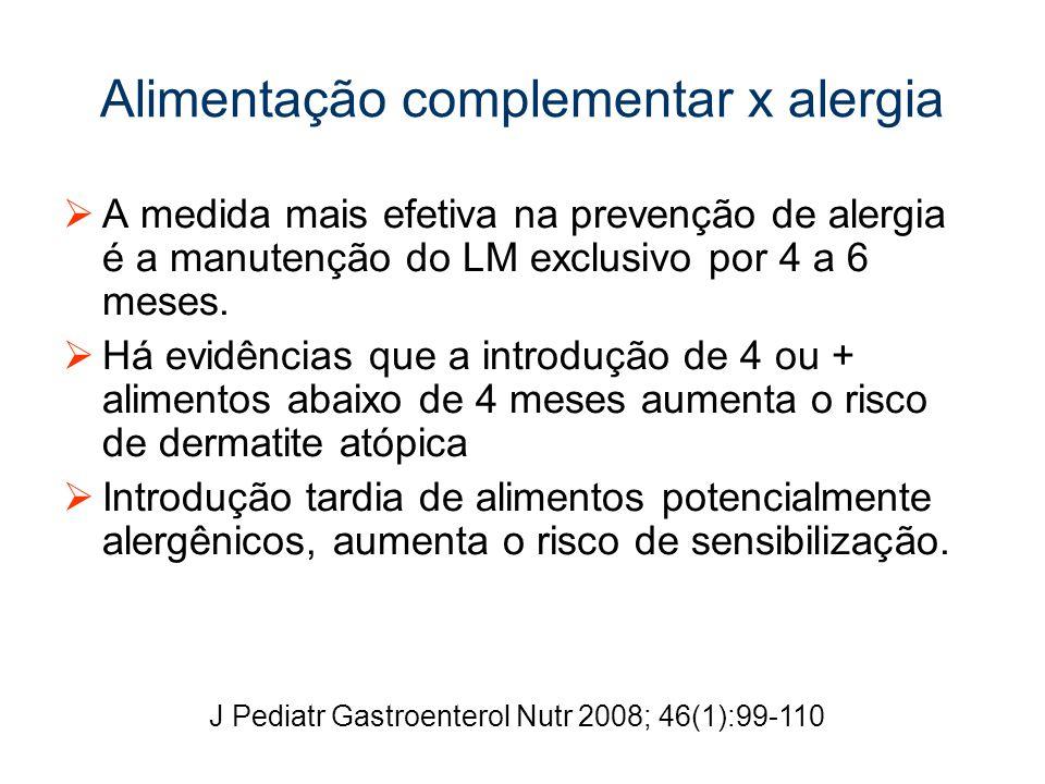 Alimentação complementar x alergia A medida mais efetiva na prevenção de alergia é a manutenção do LM exclusivo por 4 a 6 meses.