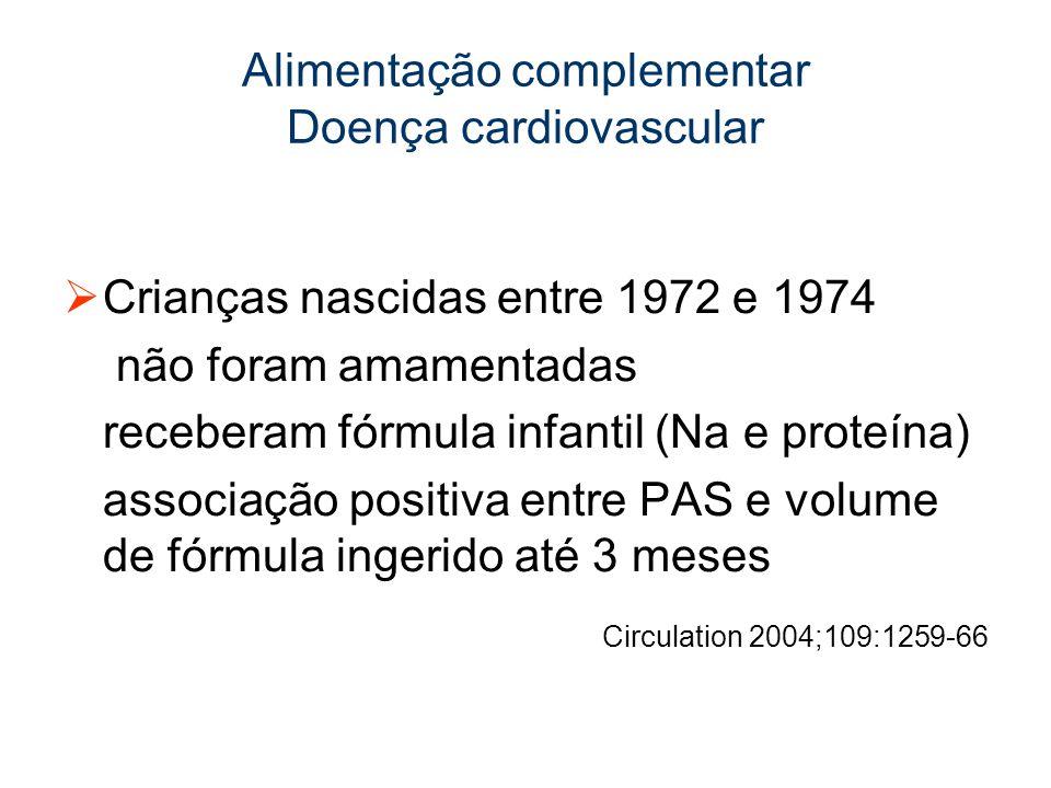 Alimentação complementar Doença cardiovascular Crianças nascidas entre 1972 e 1974 não foram amamentadas receberam fórmula infantil (Na e proteína) associação positiva entre PAS e volume de fórmula ingerido até 3 meses Circulation 2004;109:1259-66