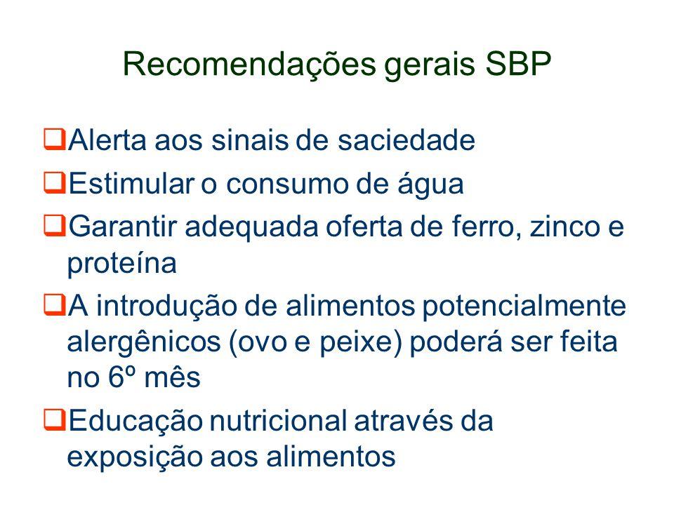 Recomendações gerais SBP Alerta aos sinais de saciedade Estimular o consumo de água Garantir adequada oferta de ferro, zinco e proteína A introdução d