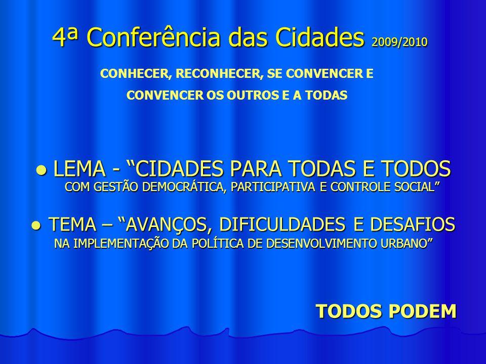 LEMA - CIDADES PARA TODAS E TODOS COM GESTÃO DEMOCRÁTICA, PARTICIPATIVA E CONTROLE SOCIAL LEMA - CIDADES PARA TODAS E TODOS COM GESTÃO DEMOCRÁTICA, PA