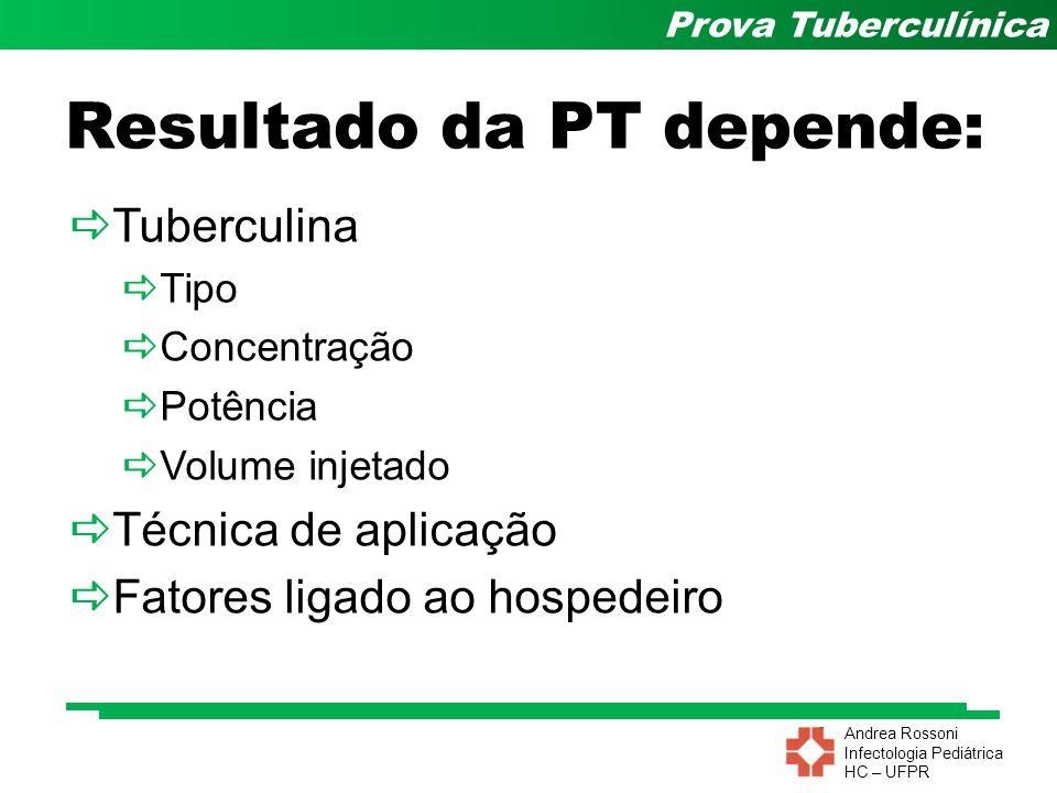 Andrea Rossoni Infectologia Pediátrica HC – UFPR Prova Tuberculínica Resultado da PT depende: Tuberculina Tipo Concentração Potência Volume injetado T