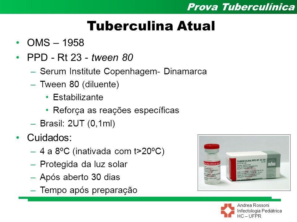 Andrea Rossoni Infectologia Pediátrica HC – UFPR Prova Tuberculínica OMS – 1958 PPD - Rt 23 - tween 80 –Serum Institute Copenhagem- Dinamarca –Tween 8