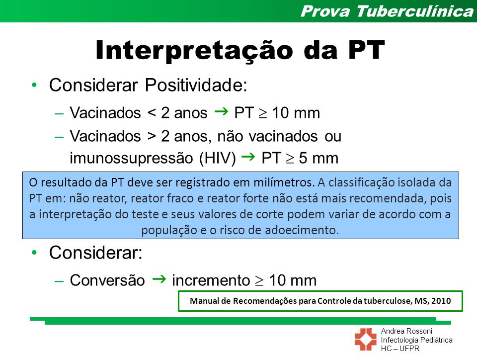 Andrea Rossoni Infectologia Pediátrica HC – UFPR Prova Tuberculínica Interpretação da PT Considerar Positividade: –Vacinados < 2 anos PT 10 mm –Vacina