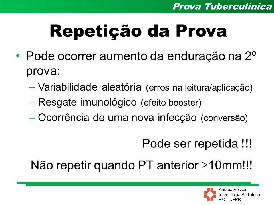 Andrea Rossoni Infectologia Pediátrica HC – UFPR Prova Tuberculínica Pode ocorrer aumento da enduração na 2º prova: –Variabilidade aleatória (erros na