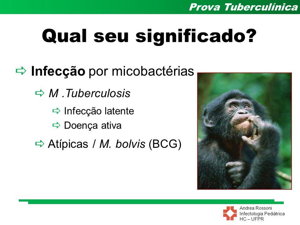 Andrea Rossoni Infectologia Pediátrica HC – UFPR Prova Tuberculínica Qual seu significado? Infecção por micobactérias M.Tuberculosis Atípicas / M. bol
