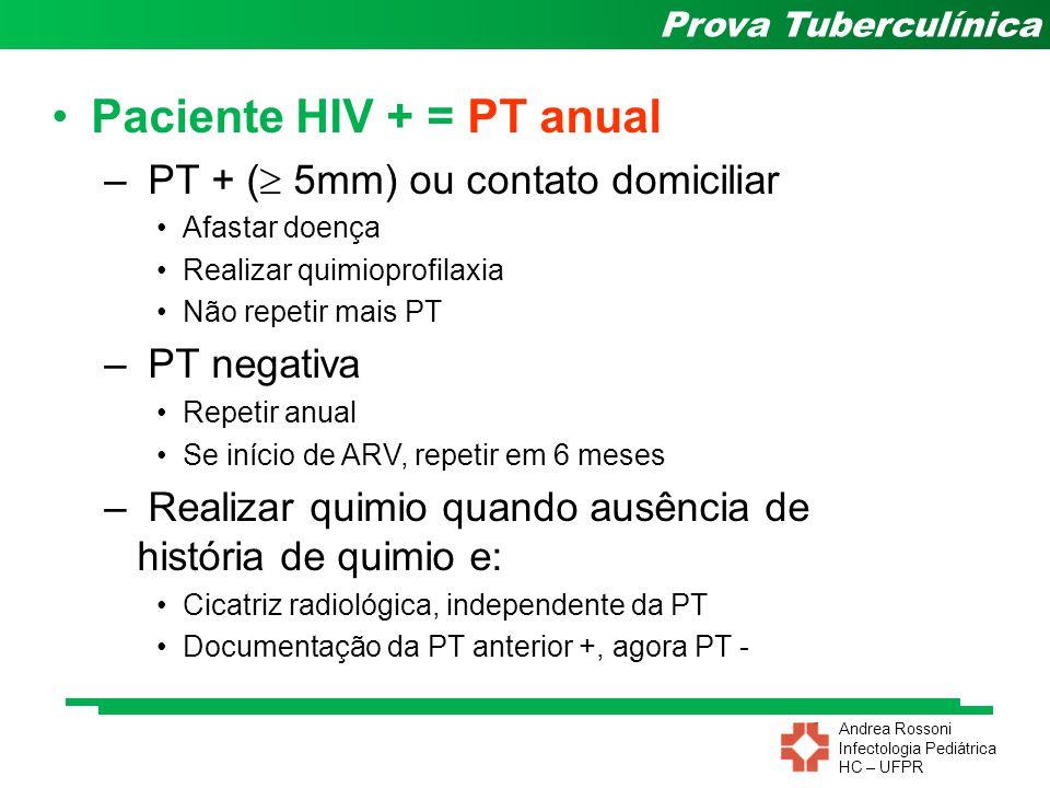 Andrea Rossoni Infectologia Pediátrica HC – UFPR Prova Tuberculínica Paciente HIV + = PT anual – PT + ( 5mm) ou contato domiciliar Afastar doença Real