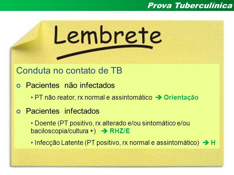 Andrea Rossoni Infectologia Pediátrica HC – UFPR Prova Tuberculínica Conduta no contato de TB Pacientes não infectados PT não reator, rx normal e assi