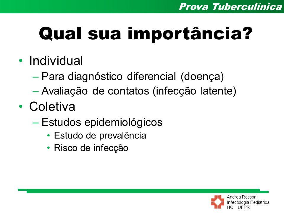 Andrea Rossoni Infectologia Pediátrica HC – UFPR Prova Tuberculínica Indicações de TIL RISCOPT5mmPT10mmCONVERSÃO* ALTO (Indicado tratamento em qualquer idade) HIV/aids**SilicoseContatos de TB bacilífera Transplantados em terapia imunossupressora Insuficiência renal em diáliseProfissional de saúde Uso de inibidores do TNF- Neoplasia de cabeça e pescoço Profissional de laboratório de micobactéria Alterações radiológicas fibróticas sugestivas de sequela de TB Indígenas Trabalhador de sistema prisional Contatos adultos*** e contatos menores de 10 anos não vacinados com BCG ou vacinados há mais de 2 anos Contato com menos de 10 anos vacinados com BCG há menos de 2 anos Trabalhadores de instituições de longa permanência MODERADO (indicado tratamento em <65 anos) Uso de corticosteróides (>15 mg de prednisona por >1 mês)* Diabetes mellitus BAIXO (indicado tratamento em <50 anos) Baixo peso (<85% do peso ideal) Tabagistas (1 maço/dia) Calcificação isolada (sem fibrose) na radiografia * Conversão do PT - segunda PT com incremento de 10 mm em relação à 1ª PT.