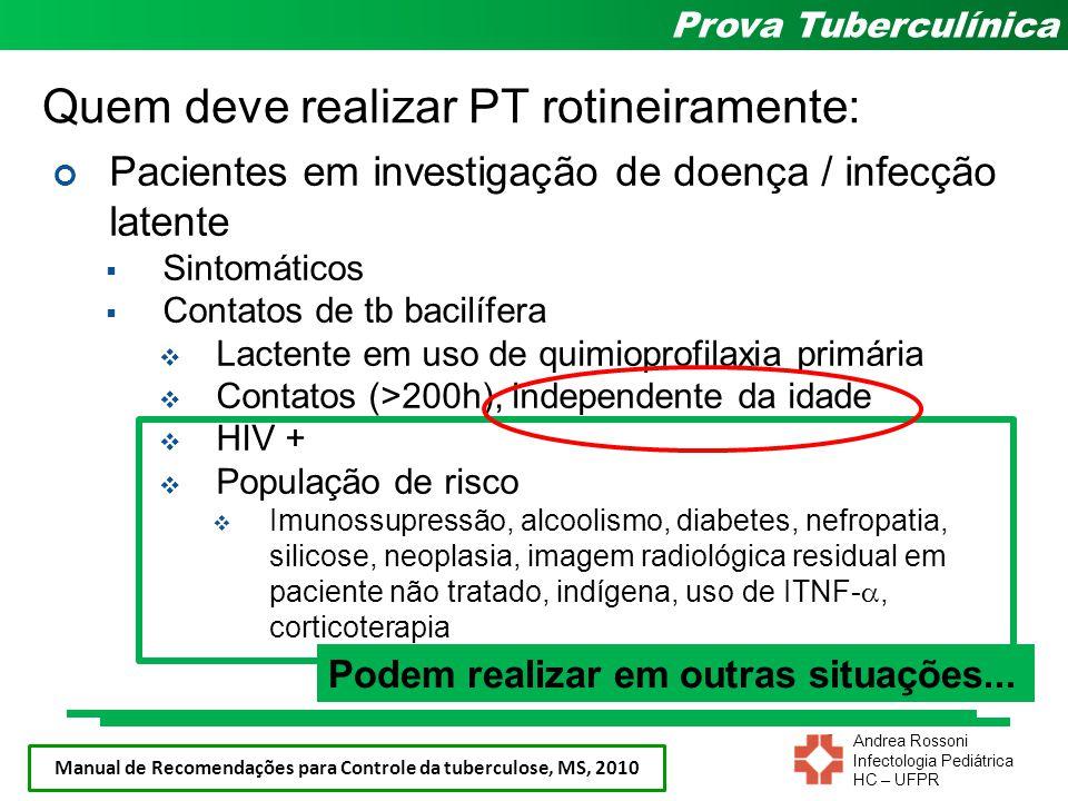 Andrea Rossoni Infectologia Pediátrica HC – UFPR Prova Tuberculínica Quem deve realizar PT rotineiramente: Pacientes em investigação de doença / infec