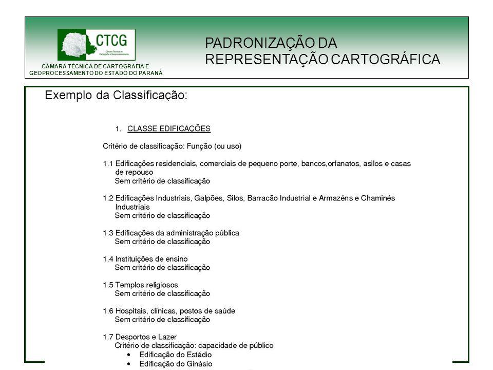 CÂMARA TÉCNICA DE CARTOGRAFIA E GEOPROCESSAMENTO DO ESTADO DO PARANÁ PADRONIZAÇÃO DA REPRESENTAÇÃO CARTOGRÁFICA Exemplo da Classificação: