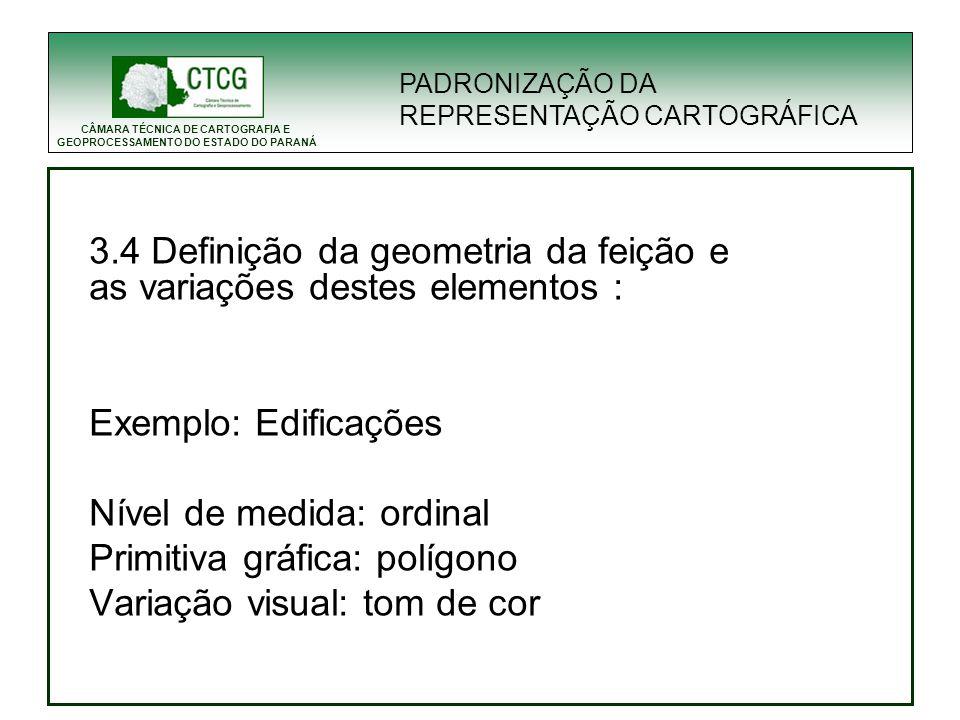 CÂMARA TÉCNICA DE CARTOGRAFIA E GEOPROCESSAMENTO DO ESTADO DO PARANÁ PADRONIZAÇÃO DA REPRESENTAÇÃO CARTOGRÁFICA 3.4 Definição da geometria da feição e