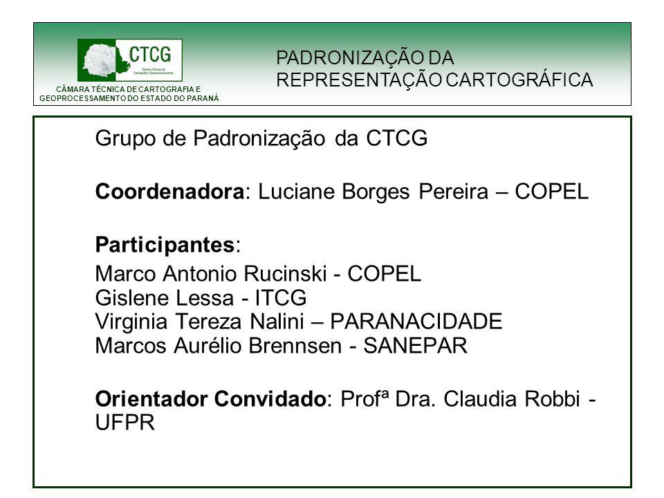 CÂMARA TÉCNICA DE CARTOGRAFIA E GEOPROCESSAMENTO DO ESTADO DO PARANÁ Grupo de Padronização da CTCG Coordenadora: Luciane Borges Pereira – COPEL Partic