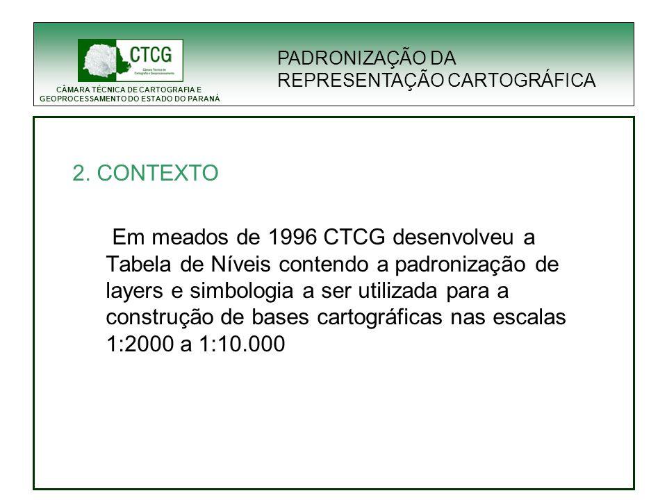 CÂMARA TÉCNICA DE CARTOGRAFIA E GEOPROCESSAMENTO DO ESTADO DO PARANÁ 2. CONTEXTO Em meados de 1996 CTCG desenvolveu a Tabela de Níveis contendo a padr