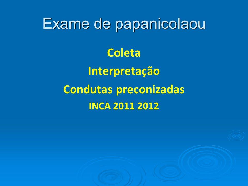 Exame de papanicolaou Coleta Interpretação Condutas preconizadas INCA 2011 2012