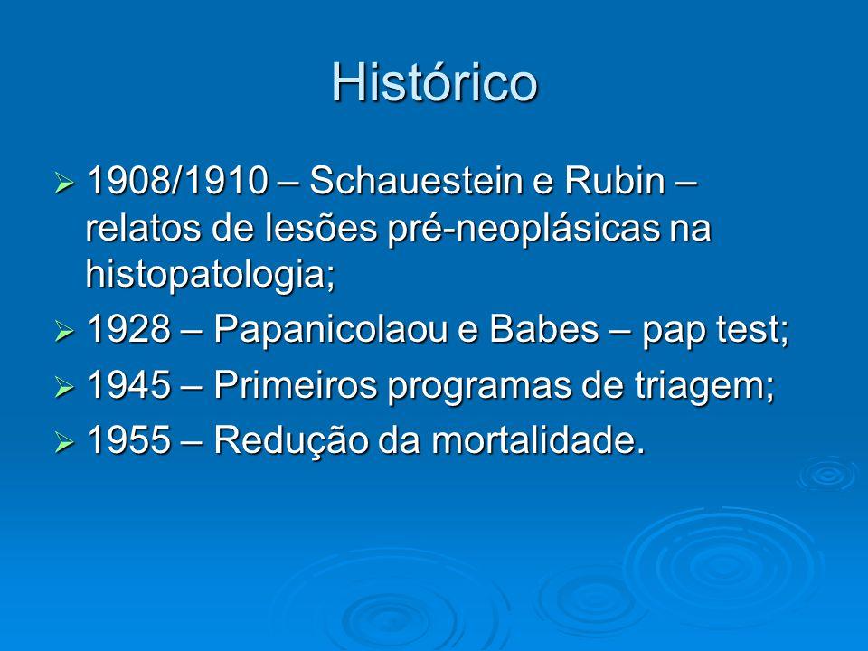 Histórico 1908/1910 – Schauestein e Rubin – relatos de lesões pré-neoplásicas na histopatologia; 1908/1910 – Schauestein e Rubin – relatos de lesões pré-neoplásicas na histopatologia; 1928 – Papanicolaou e Babes – pap test; 1928 – Papanicolaou e Babes – pap test; 1945 – Primeiros programas de triagem; 1945 – Primeiros programas de triagem; 1955 – Redução da mortalidade.