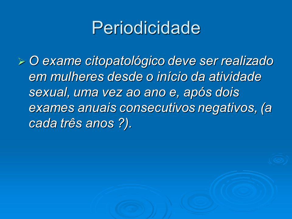 Periodicidade O exame citopatológico deve ser realizado em mulheres desde o início da atividade sexual, uma vez ao ano e, após dois exames anuais consecutivos negativos, (a cada três anos ?).
